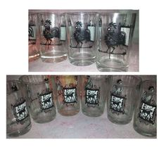 Vintage Rooster Weathervane  &  Horse Juice Glasses, Set of 6, Juice Tumblers, Country Kitchen, Farm House Decor, Rooster, Horse, Glassware by JunkYardBlonde on Etsy
