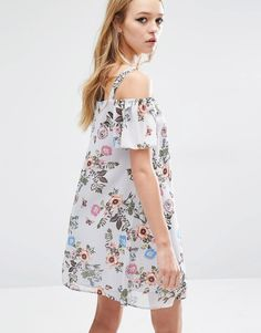 Image 2 ofReclaimed Vintage Off Shoulder Dress With Flute Sleeves In Floral Chiffon