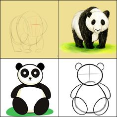 How to Draw a Panda. A panda looks like a bear with a black and white color. Panda Painting, Easy Canvas Painting, Painting For Kids, Drawing For Kids, Art For Kids, Panda Drawing, Bear Drawing, Pencil Drawing Pictures, Tree House Drawing