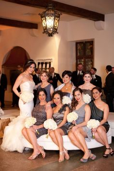 Bridesmaids in different shades of grey :) HAHAHAHA I likey!