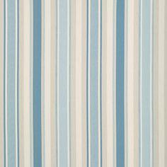 Laura Ashley Awning Stripe Cotton/Linen Fabric Seaspray