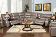 Nappa Charcoal 6 Piece Power Reclining Sectional