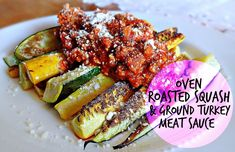 Oven Roasted Squash & Ground Turkey Meat Sauce