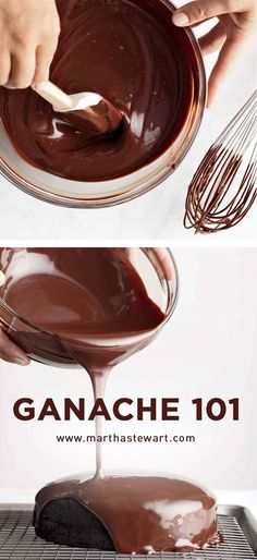 Thanks Martha Stewart! You make ganache accessible and beautiful ! Those three basic steps are all there is to making an irresistible batch of ganache. Köstliche Desserts, Chocolate Desserts, Delicious Desserts, Cake Chocolate, Mint Chocolate, Plated Desserts, Chocolate Chips, Chocolate Ganache Cupcakes, Chocolate Topping