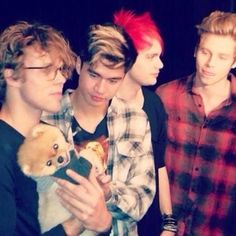 "5 seconds of summ... what the hell the dog?!>>> calum is like ""let go ash, give me the doggy! MINE!!! gimme the little fluffy fuzz ball of adorablness!!!! HE SHALL BE MINE!"" and luke is like ""wow cal chill""  and mikey's just like ""wha luke"" and ash is the only one listening the interviewer as usual, and it's all in the looks"