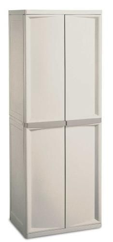 Sterilite 01428501 4-Shelf Utility Cabinet with Putty Handles, Platinum