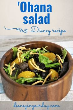 'Ohana salad recipe - Have you tried the salad at Ohana? With a passion fruit, orange juice, and guava dressing, this one is perfect for summer and now you can make it at home! Disney in your Day #disneyrecipes #disneyfood #ohana #saladsatdisney #disneysalad #ohanarecipe #ohanasalad #disneyathome #disneyinyourday Salad Recipes, Snack Recipes, Dinner Recipes, Healthy Recipes, Drink Recipes, Snacks, Pog Juice, Honey Lime Dressing, Disney World Food