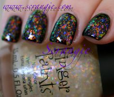 Flashy is red-orange-yellow-green  flake polishes. From the Special Effects collection - shown over black cream