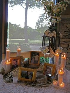 I thought this was pretty. NO CANDLES IN THE FARMHOUSE. I like the memory table idea & slideshow projection. memorial idea, something tasteful but not overly somber.