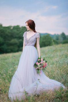 Vestido de Novia de tul encaje y novia escote V por MywonyBridal