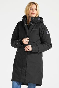 Didriksons naiste talveparka ELINE, must 42 800 Calorie Meals, Womens Parka, High Collar, Canada Goose Jackets, Raincoat, Winter Jackets, Sleeves, Fashion, Turtleneck