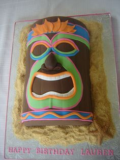 Tiki Cake - This was for a luau themed birthday party. It was really a fun cake to make. It came together rather easily. (Fun Cakes Themes)