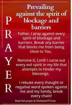Spiritual Warfare Prayer against the spirit of blockage and barriers Prayer Scriptures, Bible Prayers, Faith Prayer, God Prayer, Prayer Quotes, Deliverance Prayers, Healing Scriptures, Prayer For Salvation, Bible Quotes