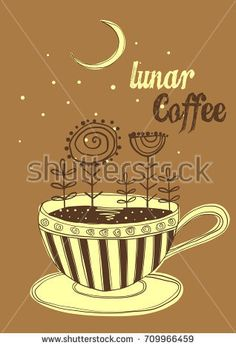 Vector illustration of cup of coffee. Abstract flowers and moon night.