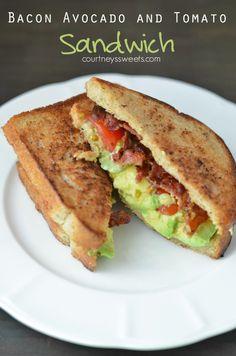 Bacon Avocado and Tomato Sandwiches BLT Avocado Sandwich - Serve with ...