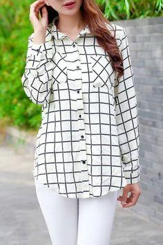 Classic Plaid Stand Collar Rayon Button Down Shirt