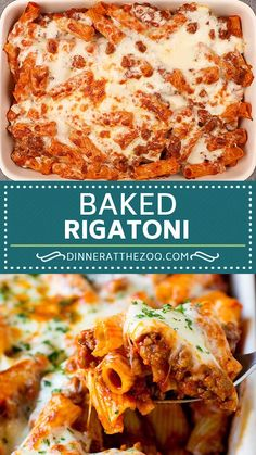 Baked rigatoni pasta with marinara sauce ground beef and sausage all topped with melted cheese. Baked Pasta Dishes, Baked Pasta Recipes, Cheesy Recipes, Chicken Recipes, Cooking Recipes, Baked Pasta With Sausage, Pasta With Italian Sausage, Recipes With Marinara Sauce, Hot Sausage Recipes