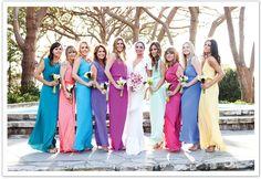Multi-colored bridesmaid dresses designed by Yana K