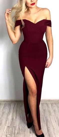 Off the shoulder Dress, Long Dress with Slit, Burgundy Dresses, Formal Evening Gown #burgundy #offtheshoulder #long #split #okdresses