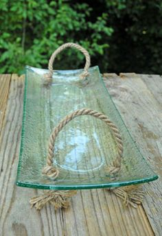 """14"""" Green Tinted Glass Tray with Rope Handles"""