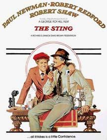 The Sting is a 1973 American caper film set in September involving a complicated plot by two professional grifters (Paul Newman and Robert Redford) to con a mob boss (Robert Shaw). Robert Redford, Paul Newman, Indiana Pacers, Love Movie, Movie Tv, Sundance Kid, Movies Worth Watching, Great Films, Poster