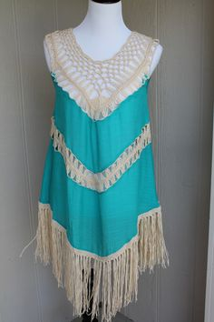 Teal Crochet Cover-up/Dress