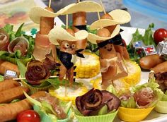 Hot Dog Cowboys - with potato chip sombreros!
