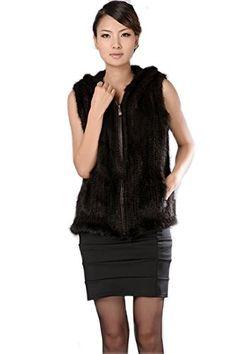 Bafei Women's New Mink Fur Knitted Sleeveless Zipper Vest Jacket with Hood $199.00 (71% OFF)