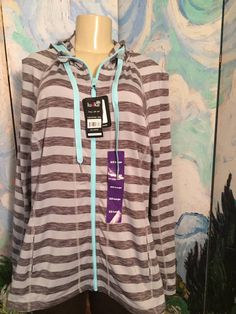 LUKKA PLUS XXL NEW GRAY STRIPED ZIP FRONT LONG SLEEVE ACTIVE HOODED TUNIC JACKET #LUKKA #ZIPFRONTHOODED #Casual