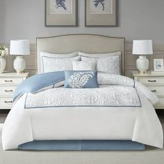 Shop for Harbor House Boxton Blue 6 Piece Cotton Comforter Set. Get free delivery On EVERYTHING* Overstock - Your Online Fashion Bedding Store! Get in rewards with Club O! Duvet Sets, Duvet Cover Sets, Master Bedroom, Bedroom Decor, Bedroom Ideas, Costal Bedroom, Hamptons Bedroom, Bedroom 2018, Bedding Decor