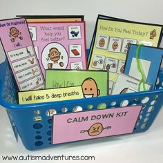 Manage classroom behaviors with a calm down kit! Use these visual tools to help students learn to regulate emotions and cope with challenges in an appropriate manner. This is great for students with autism and special needs. Calm Down Kit, Classroom Behavior Management, Autism Classroom, Education Quotes For Teachers, School Psychology, Teacher Humor, Social Skills, Classroom Organization, Special Education