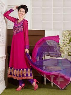Pink Georgette Anarkali Suit With Resham And Zari work