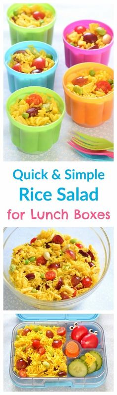 Quick and easy rice salad pots - a great alternative to sandwiches for packed lunches - allergy friendly - gluten free nut free and dairy free quick diet dairy free Kids Packed Lunch, Healthy Packed Lunches, Lunch Snacks, Lunch Recipes, Healthy Snacks, Cooking Recipes, Detox Recipes, Healthy Kids, Rice Salad Recipes