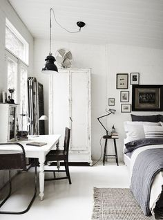 rustic industrial white black + gray bedroom