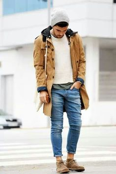 casual sweater + green t-shirt + denims + beanie + sneakers + GREAT jacket