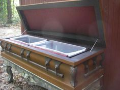 Beverage cooler made from old coffin. How cool is this? -SQUEEEEEEEE!!!! I needs it! My precious!!