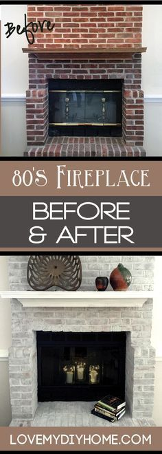 Leslie Stocker at Colorways updated her fireplace with Pure and Original Paint. Come see her . Leslie Stocker at Colorways updated her fireplace with Pure and Original Paint. Come see her tutorial - amazing transformation! {Love My DIY Home}, Fireplace Update, Paint Fireplace, Fireplace Mantels, Farmhouse Fireplace, Fireplace Ideas, Fireplace Makeovers, Paint Brick, Fireplace Design, Brick Wall