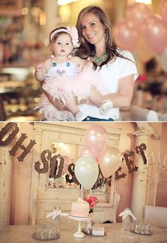 cute 1st birthday party ideas/ love the feather skirt ooh lala