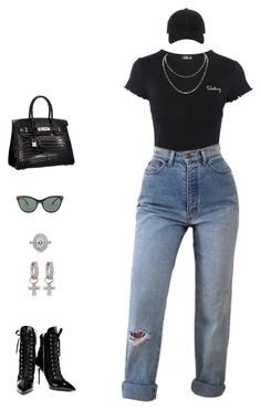 """""""+"""" by maxxxus ❤ liked on Polyvore featuring Topshop, Ray-Ban, Giuseppe Zanotti, Mark Broumand, rag & bone and KC Designs"""