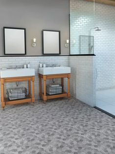 A modern Carrara marble look, Revive® Oceana LVS features a geometric mosaic pattern with color contrasts that create the illusion of gentle movement as light traverses across the floor. And it's Made in the USA! Floor Layout, Home Decor, Mannington Flooring, Modern Farmhouse Bathroom, Luxury Vinyl Tile, Kitchens Bathrooms, Flooring, Flooring Inspiration, Kitchen Vinyl Sayings