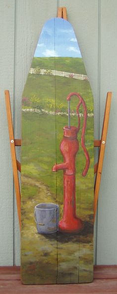 Red Water Pump by BoardsbyBarb on Etsy, $180.00