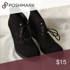 Wedges Perfect for the Fall These wedges are perfect for the winter. I've worn them a few times so the label on the inside is a little worn. But I can promise you these shoes are very comfortable. Also the slip resistant is great! Mossimo Supply Co Shoes Wedges
