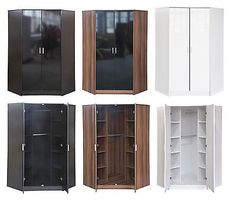 Khabat high gloss furniture 2 door #corner #wardrobe 10 #shelves 2 hanging rails , View more on the LINK: http://www.zeppy.io/product/gb/2/190866462465/