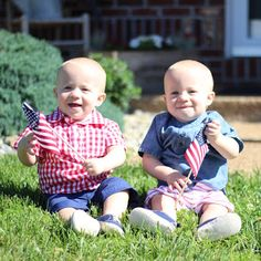 Patriotic NEDC twins Elliott and Jude. Poster boys for Flag Day.