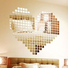 Icibgoods Home Décor 100 Pcs Small Squares 3D Acrylic Mirror Wall Sticker Classic Design Silver