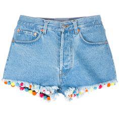 Forte Forte Pom-pom Trim Denim Shorts (15,785 INR) ❤ liked on Polyvore featuring shorts, pompom shorts, forte forte, denim shorts, jean shorts and pom pom shorts