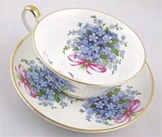 Forget Me Knot English Fine Bone China Teacup and Saucer China Cups And Saucers, Teapots And Cups, China Tea Cups, Vintage China, Vintage Teacups, My Cup Of Tea, China Patterns, Tea Cup Saucer, Drinking Tea