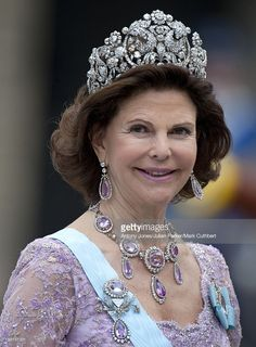 Queen Silvia At The Wedding Of Crown Princess Victoria Of Sweden And Daniel Westling At Stockholm Cathedral.