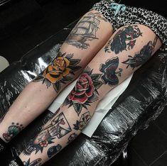 #tattoo by @chris_jenko_tattooer ............#traditional #traditionaltattoo #traditionalartist #oldtattoo #oldschooltattoo #tattooartist #tattooart #tattoos #ink #inked #classictattoo | Artist: @traditionalartist Traditional Tattoo Flowers, Traditional Tattoo Old School, Traditional Tattoo Leg Sleeve, Traditional Tattoos, Neo Traditional, American Traditional, Trendy Tattoos, Tattoos For Guys, Tattoos For Women
