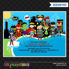 SUPERHERO POOL Party INVITATION or Thank You by PinkPickleParties, $10.00